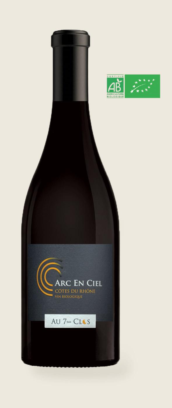Bouteille de vin biologique gamme Arc-en-ciel du domaine Bio viticole Au 7 ème Clos à Visan.