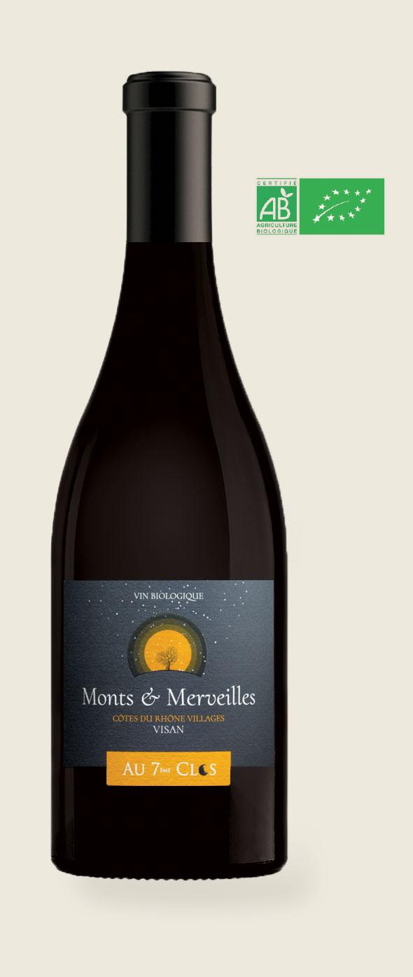 Bouteille de vin rouge Bio Monts & Merveilles, Côtes-du-Rhône Villages à Visan dans le Vaucluse.