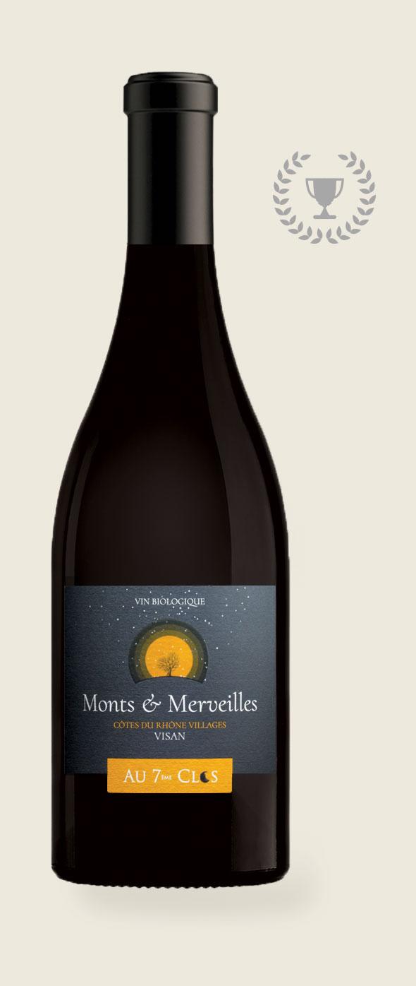 Monts et Merveilles, vin rouge Bio médaillé, Côtes-du-Rhône Villages Visan.