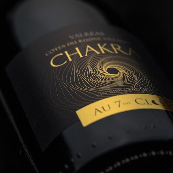 Étiquette vin Bio Chakra, Côtes-du-Rhône Villages Bio Valréas.