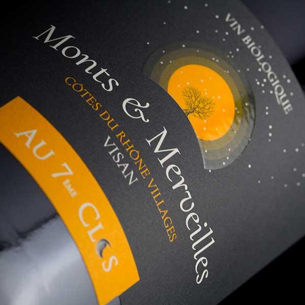 Étiquette Côtes-du-Rhône Villages Visan, vin Monts & Merveilles