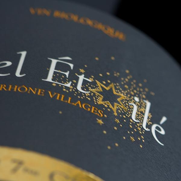Côtes-du-Rhône Villages Visan : Étiquette vin Ciel étoilé, Vaucluse.