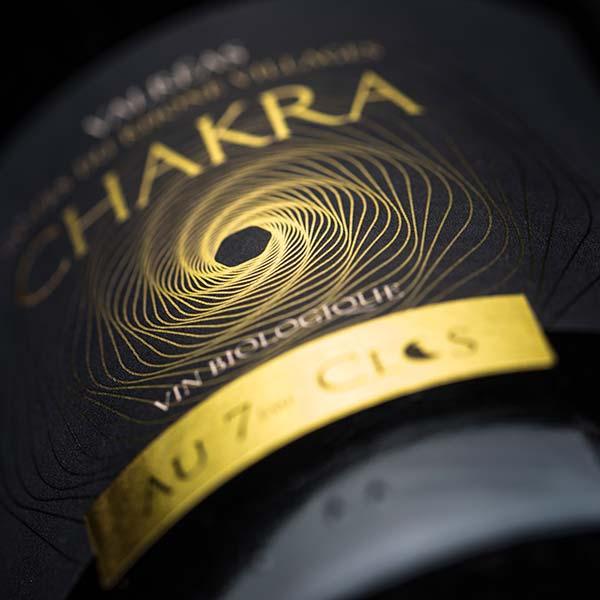 Étiquette vin Chakra, un vin rouge Bio, Côtes-du-Rhône Villages Valréas.