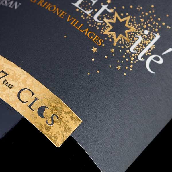 Étiquette du vin Bio Ciel étoilé, Côtes-du-Rhône Villages Visan, dans le Vaucluse.