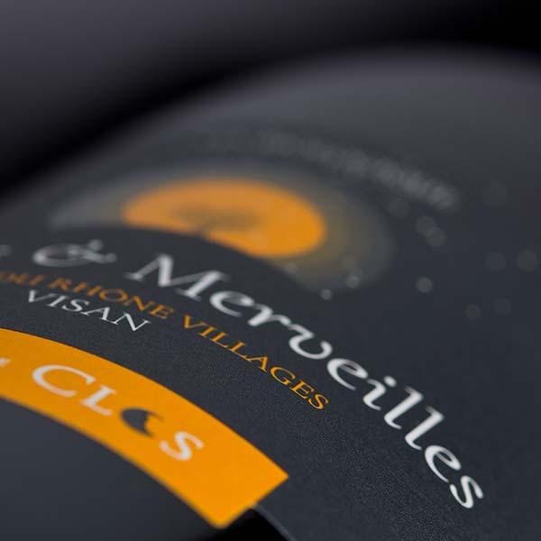 Étiquette vin Bio Monts & Merveilles, un vin Bio, Côtes-du-Rhône Villages Visan.