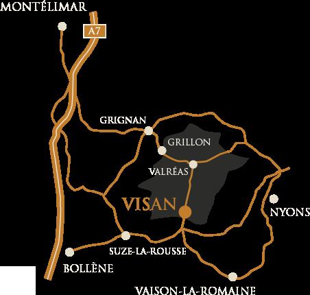 Plan général autour de Visan, Vaucluse.