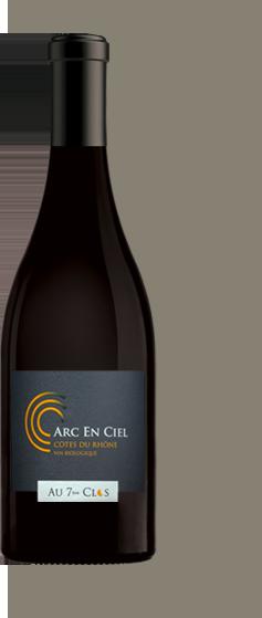 Bouteille de vin biologique rouge gamme Arc-en-ciel, AOC Côtes-du-Rhône.