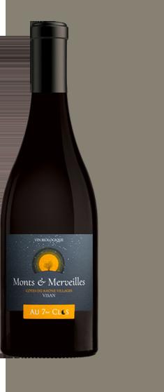 Bouteille de vin rouge bio gamme Monts & Merveilles, Visan.