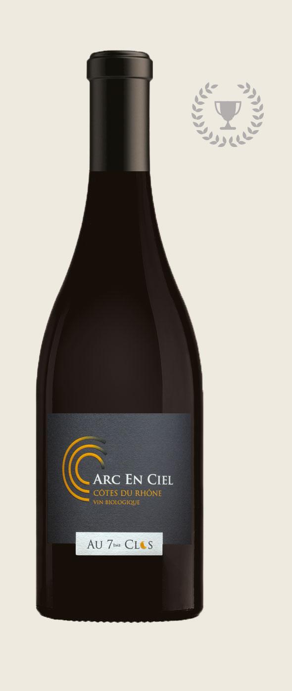 Bouteille de vin Bio Arc-en-Ciel.